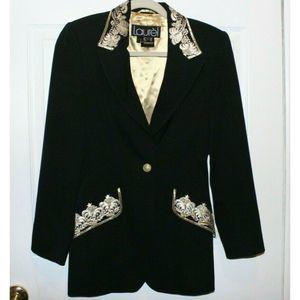 Vintage Laurel Black Gold Embroider Blazer Size 34